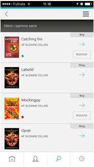 """Skærmbillede fra appen, der viser mere i samme serie som """"The hunger games"""""""