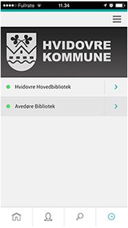 Skærmbillede fra appen, der viser åbningstider for de to biblioteker