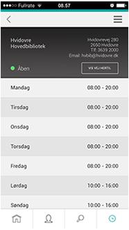 Skærmbillede fra appen, der viser Hovedbibliotekets åbningstider i denne uge