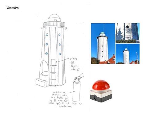 Tegning af vandtårn til lege i børneudlånet