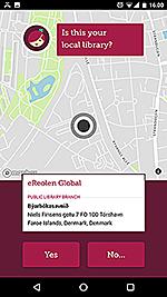 """Skærmbillede fra """"Libby appen"""", hvor man skal bekræfte, at ens bibliotek er eReolen Global"""