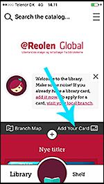 """Skærmbillede fra Libby appen, hvor pil peger på """"Add your card"""" linket"""