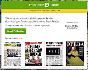 Skærmbillede af 'PressReader hotspot' velkomstvindue