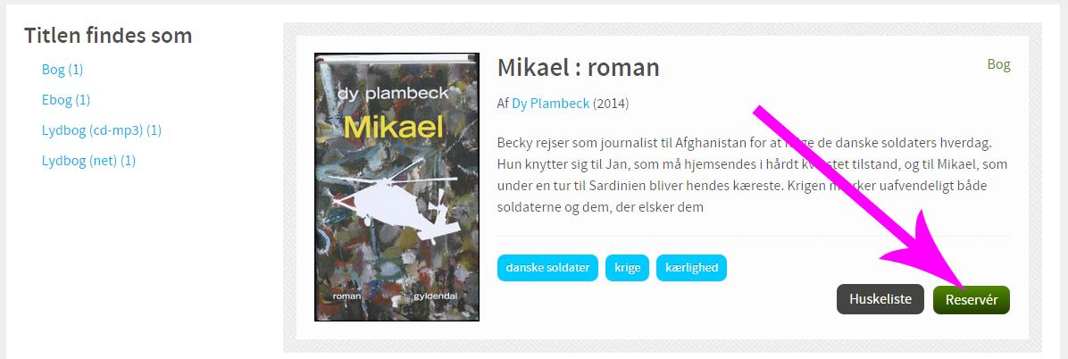 Visning af bogen Mikael med huskeliste-knap og reserver-knap