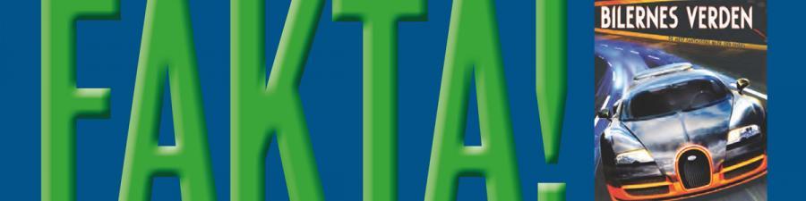 """Teksten """"Fakta!"""" står med grøn skrift ved siden af en bog om biler"""