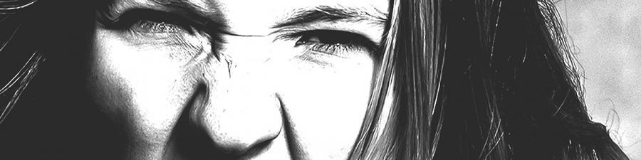 Vredt pigeansigt i sort-hvid
